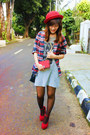 Heather-gray-dress-red-forever-21-hat-red-plaid-topshop-shirt