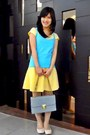 Yellow-kids-mango-t-shirt-light-blue-bag-yellow-oldies-mango-skirt
