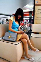 yellow oldies Mango skirt - light blue bag - sky blue Forever 21 top