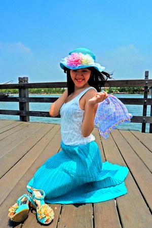 sky blue hat - light blue scarf - aquamarine heels - sky blue skirt