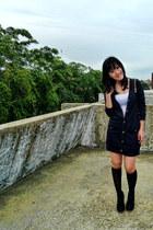 black high knee socks - black boots - black Mango coat - white intimate