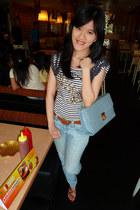 light blue coach bag - light blue Levis jeans - heather gray thrifted blouse