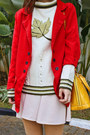 Red-coat-maroon-boots-ivory-sweater-light-yellow-louis-vuitton-bag