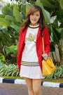 Maroon-boots-red-coat-ivory-sweater-light-yellow-louis-vuitton-bag