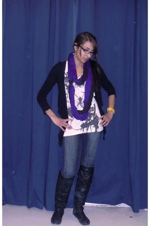 black Urban Behaviour sweater - white Rickis t-shirt - purple Rickis scarf - bla