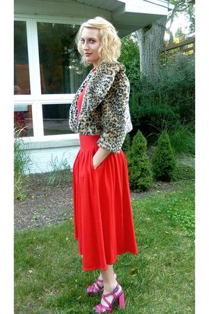 red Betsey Johnson dress - gold Forever 21 jacket - pink Alice and Olivia shoes