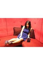 blue f21 dress - purple shoes - purple Studio purse