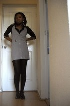 Mosaic shirt - button-up dress Ideals cardigan - Woolworths stockings - Errol Ar