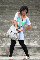 silver Charles & Keith shoes - silver Mango purse - blue Zara shirt - black Tops