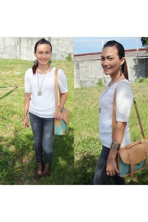 Forever21 blouse - shubizz boots - daily jeans Bench Philippines jeans