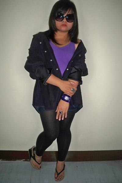 black miss essentials leggings - black random brand jacket - purple random top