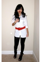 white random fron hong kong shirt - black Express leggings - red vintage belt -
