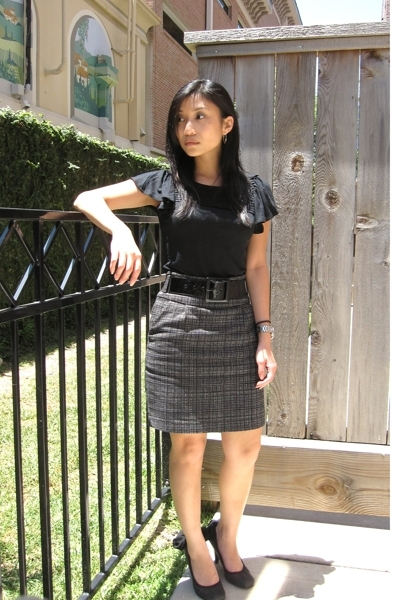 banana republic shirt - f21 skirt - shoes