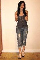 f21 top - f21 jeans - f21 necklace - Modern Vintage shoes