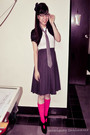 White-top-black-cardigan-gray-skirt-pink-socks-black-boots