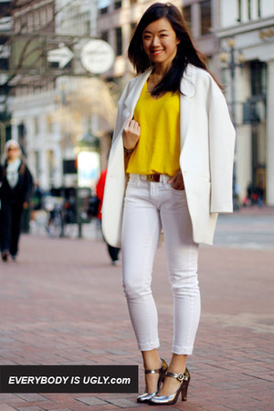 white skinny ankle Levis jeans - white Zara blazer - white Mango belt