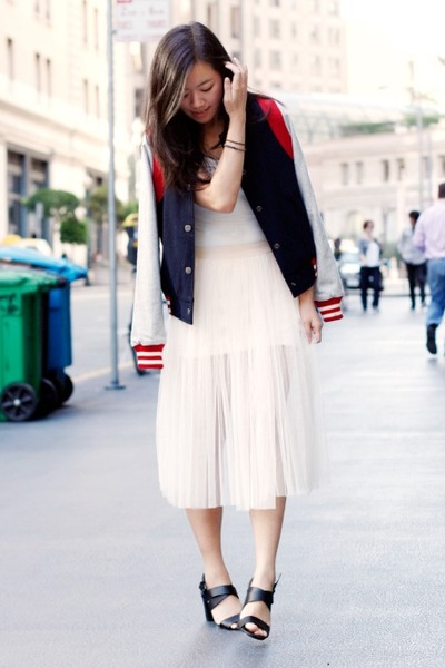 navy varsity Doris Apparel jacket - white Urban Outfitters bodysuit