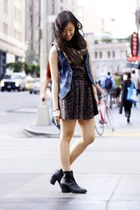 blue denim H&M vest - black H&M boots - dark khaki Urban Outfitters dress