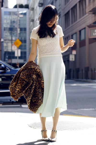 vintage skirt - leopard print storets coat - vintage top - sam edelman heels