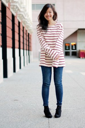 white boyfriend American Apparel sweater - blue Zara jeans - black Zara wedges