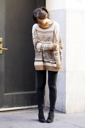 black lace-up Zara wedges - tan Zara sweater - black Zara leggings