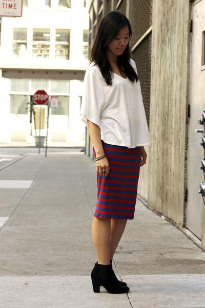 Black Asos Boots, Red Zara Skirts, White Crossroads Trading