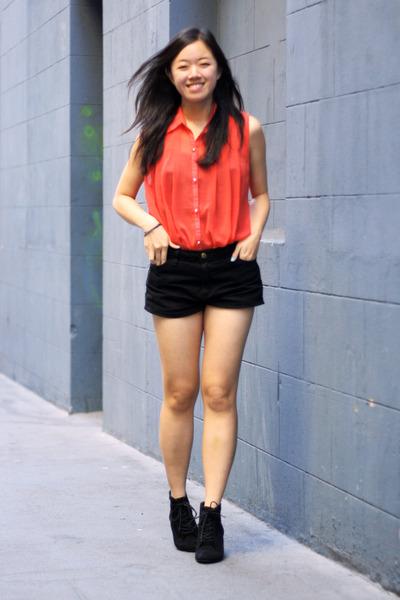 black American Apparel shorts - carrot orange asos top - black Zara wedges