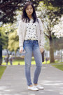 White-french-connection-shoes-light-blue-levis-jeans-black-hobo-bag