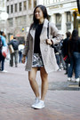 off white Zara coat - black sweater - silver sneakers - heather gray skirt