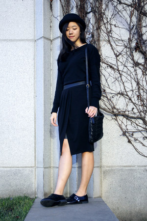 black shoes - black hat - black sweater - black skirt