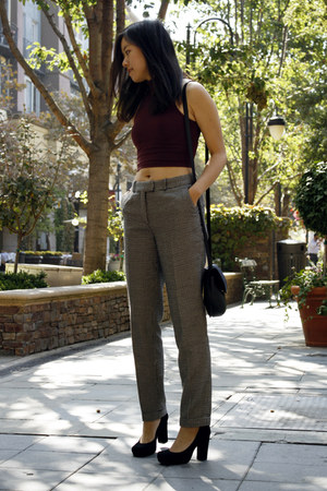 black American Apparel purse - gray H&M pants - magenta American Apparel top