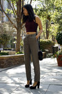 Black-american-apparel-purse-magenta-american-apparel-top-gray-h-m-pants