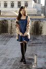 Beige-maison-scotch-cardigan-blue-vintage-overall-dress