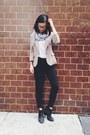 black asos boots - beige Uniqlo blazer - white James Perse t-shirt