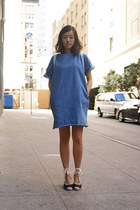 blue THE WHITEPEPPER dress - sky blue fjallraven bag - navy asos wedges