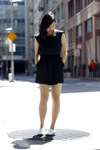 black BCBG romper - white French Connection shoes