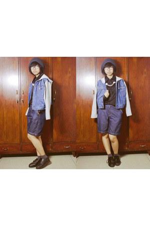 black june and julia boots - navy cotton denim BLANCTERIA shorts