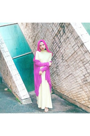 light yellow dress - hot pink scarf - magenta cardigan