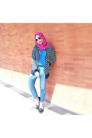 hot pink scarf - black Zalora shoes
