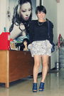 Black-nyla-top-black-closet-queen-skirt-blue-belle-shoes-blue-balenciaga-a