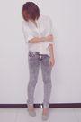 White-mango-shirt-silver-pink-label-jeans-silver-ysl-shoes