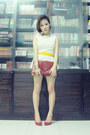 Yellow-unbranded-belt-maroon-clutch-forever21-bag