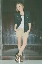 black blazer - white Mango shirt - brown Mango shorts - brown GoJane shoes