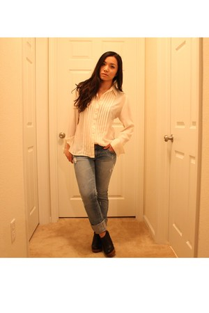 ivory thrifted blouse - blue American Eagle jeans - black Dollhouse shoes