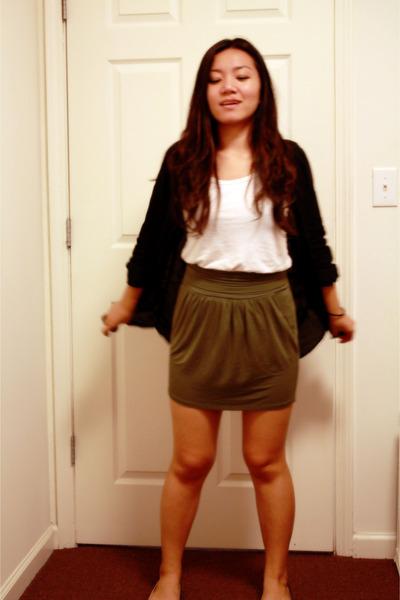 black H&M shirt - white Forever 21 top - green Urban Outfitters skirt - black Ur