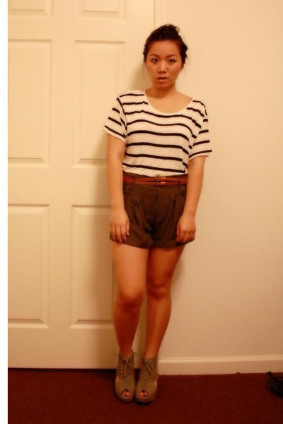 white H&M accessories - green Urban Outfitters shorts - brown Forever 21 belt -