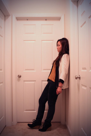 black Forever21 jeans - white Forever21 sweater - mustard Forever21 top