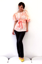 pink Simones Rose blouse - blue unknown brand jeans - silver Brazen Design earri