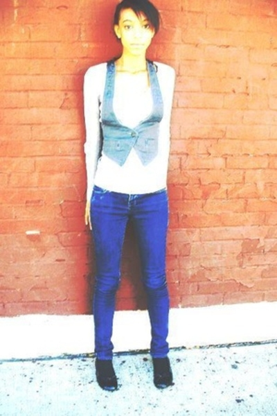 forever 21 shirt - GG vest - LVLX jeans - payless shoes - Macys sweater