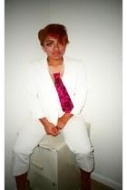 hot pink no brand tie - white thrifted blazer - Charlotte Russe heels